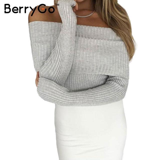 BerryGo alças elastic camisola de inverno mulheres Sexy lapela malhas jumpers pullover Outono bodycon puxar femme básico topo colheita