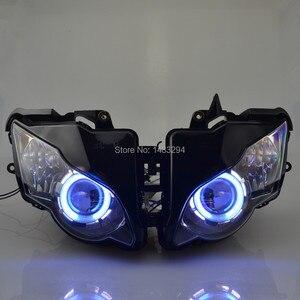 Image 4 - Özel montajlı projektör far mavi ve beyaz melek göz HID Honda için uygun CBR1000RR CBR1000 RR 2008 2011 08 09 10 11