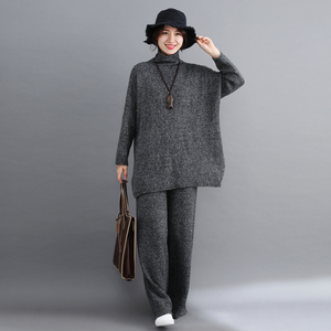 Image 4 - Plus Size Women 2 Pieces Pant Sets 2019 New Turtleneck Knitted Sweaters Pullovers and Wide Leg Warm Pant Lady Pant Suits