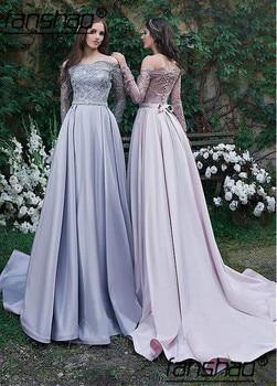 2019 Muslim Evening Dresses Satin Off the Shoulder Long Sleeves vestidos de festa Dubai Saudi Arabic Evening Gown Prom Dress
