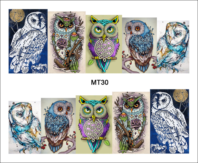 1 Sheet Nail MT30 Full Cover Owl On Tree Cartoon Cute Nail Art Water Transfer Sticker Decal For Nail Art Tattoo DIY Nail Tool teflon cover sheet 16 x16 transfer paper iron on heat