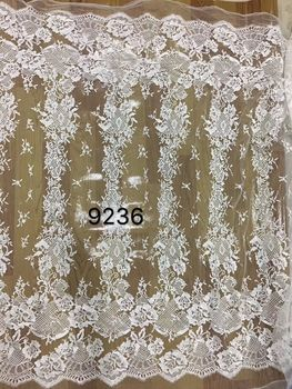 fashionable SYJ-83121  tulle lace fabric for party dress white Embroidery mesh fabric high quality