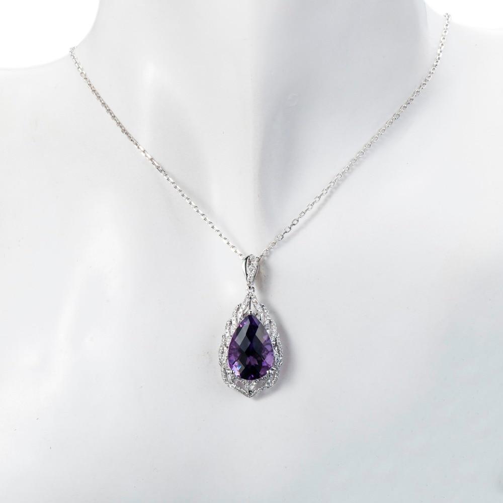 LP diamant bijoux 7.18ct améthyste naturelle pierre gemme solide 18k 750 or blanc pendentif Fine pierre bijoux pour cadeau d'anniversaire - 3