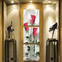 Red rose flower modern vertical square canvas painting vintage art prints 3 psc classical wall pictures for aisle corridor cafe
