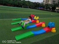 new type kids plastic toy car kindergarten equipment slideway Three stage skid YLW PT0927