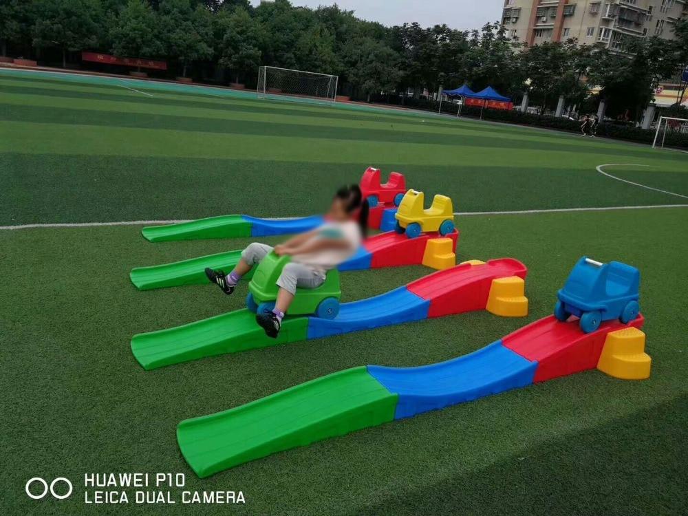 New Type Kids Plastic Toy Car Kindergarten Equipment Slideway Three-stage Skid YLW-PT0927