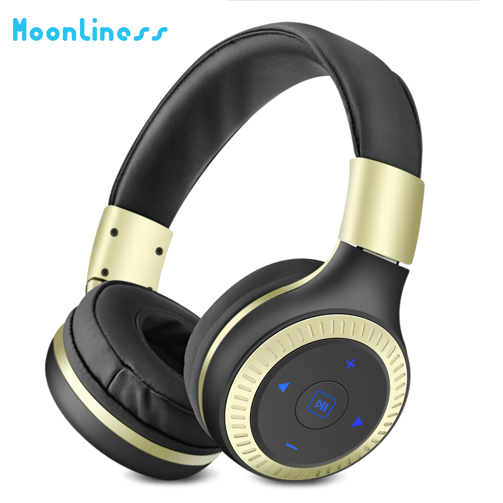 Moonliness B19 Bluetooth Headphones  Wireless Headsets Stereo HIFI BASS Earphone with Mic Micro-SD Card Slot Support FM Radio lexin 2pcs max2 motorcycle bluetooth helmet intercommunicador wireless bt moto waterproof interphone intercom headsets