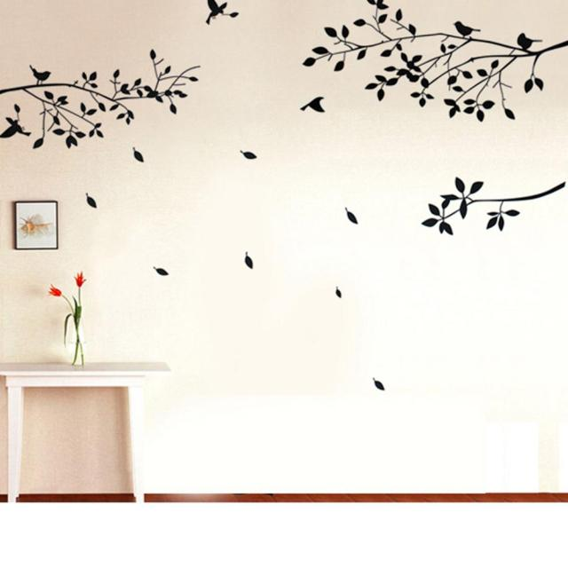 New fashion design black tree branches birds leaves home pvc wall paper sticker window door decal
