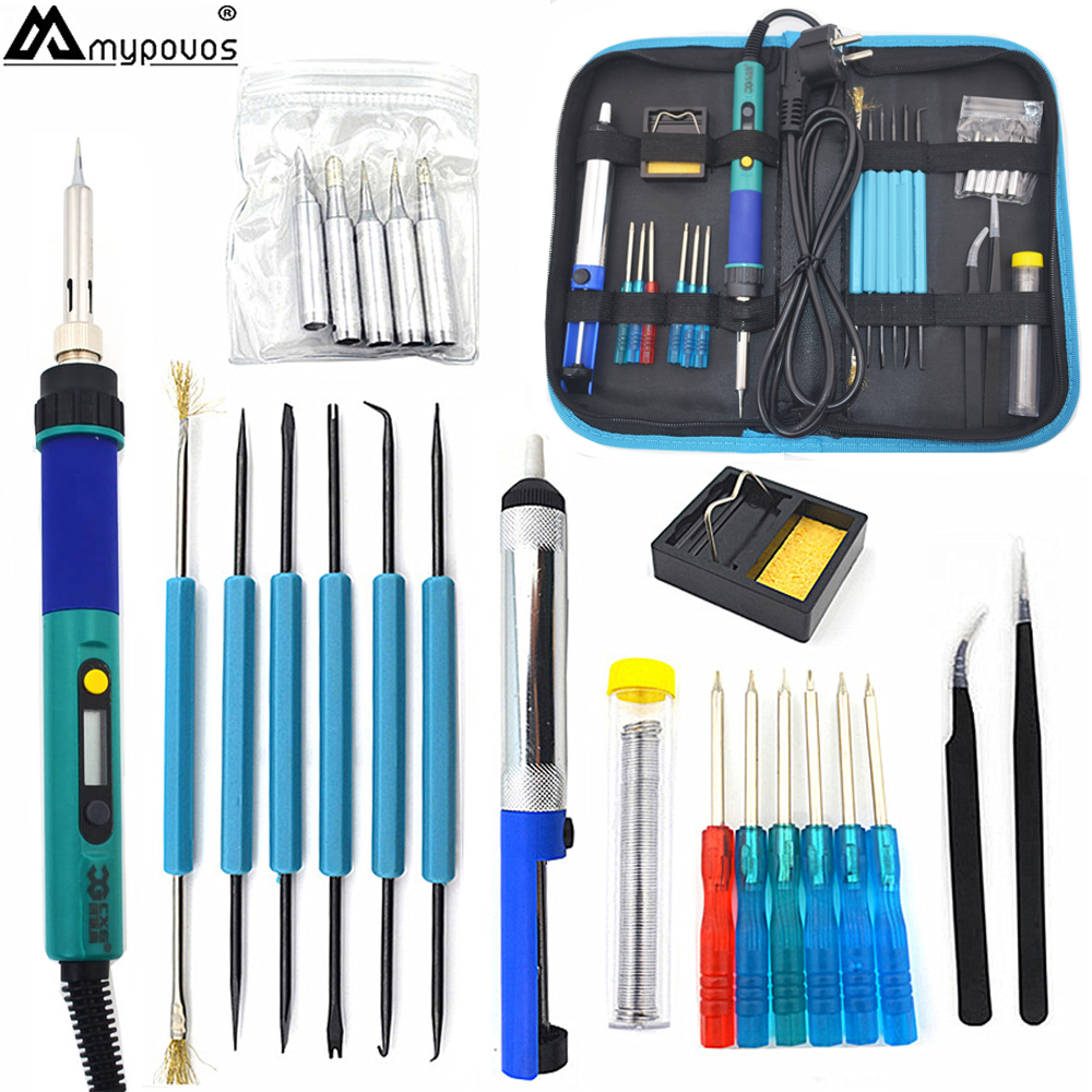 CXG936d EU 60W Digital LCD Adjustable Electric soldering iron Kit+5pcs Tips Tweezers Solder Wire Portable Welding Repair Tool