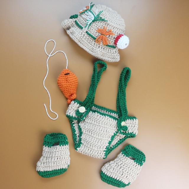 Bebé recién nacido fotografía atrezzo handmde pescador hat + pañal + zapatos + peces de punto de ganchillo foto atrezzo bebé capó trajes
