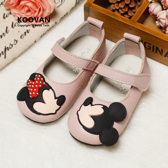Koovan Children Flats 2017 Children's Shoes Real Leather Cartoon Mini Mouse Shoes Princess Girls Dance Footwears For Baby Girls