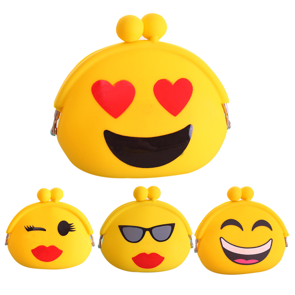 2018 Fashion Lovely emoji Design Wallets Women Silicone Round Coin Purse Wallet Portable Lady Card Key Phone Bag Case