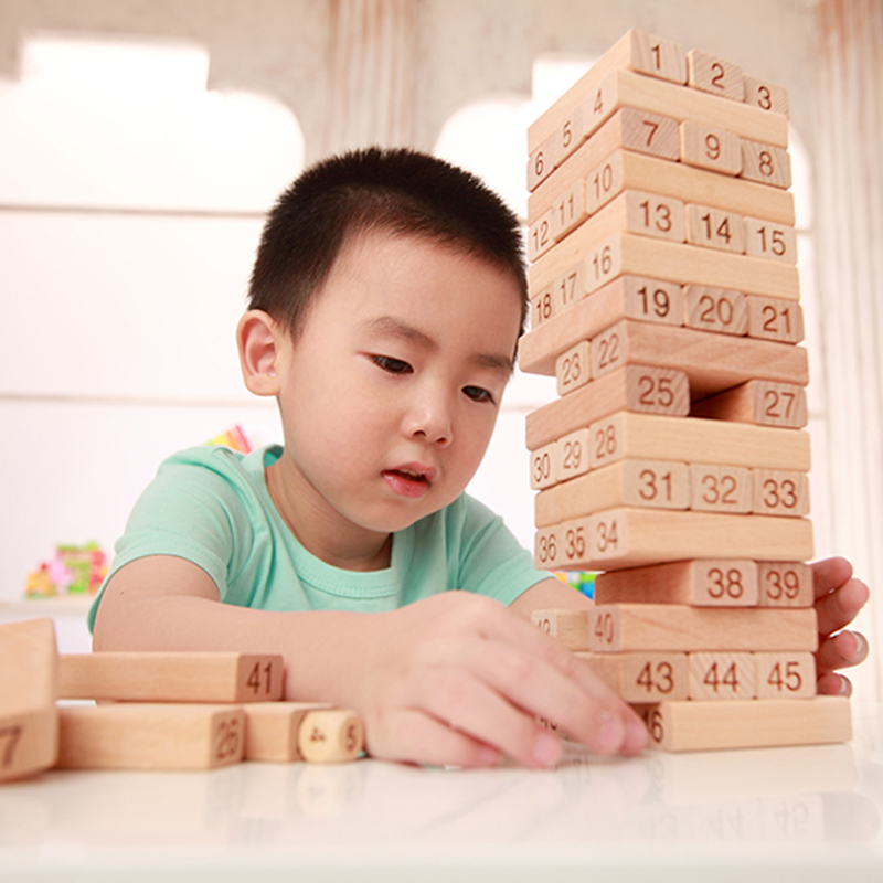 Baby Montessori Toys Jenga Games Wooden Building Blocks Wood Tower  Domino Toy 48pcs Stacker Extract for Children with 2pcs Dice advanced wooden tower digital blocks toy vegetables domino stacker extraction montessori educational jenga family games oyuncak