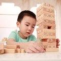 Montessori Brinquedos Jogos Jenga Torre de Madeira De Madeira Blocos de Construção do bebê Brinquedo Dominó 48 pcs Stacker Extrato para Crianças com 2 pcs Dice