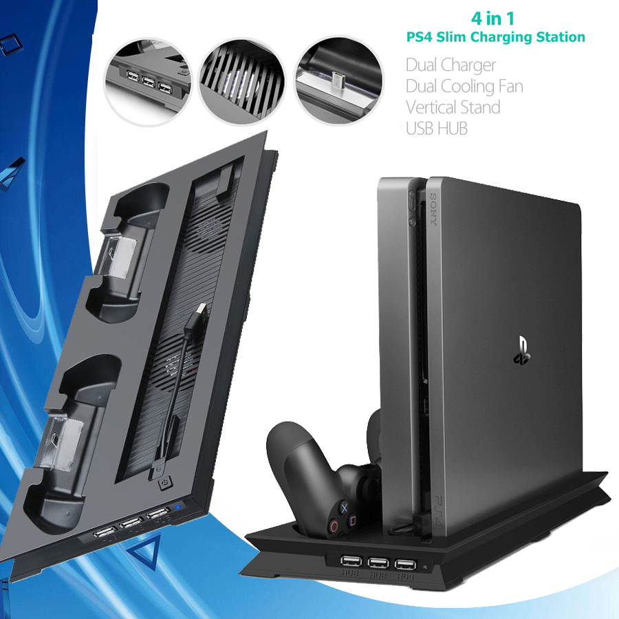 PS4 Slim Vertical Stand with Cooler Cooling Fan Gamepad Charger Charging Dock Station for Sony Playstation 4 Slim PS 4 Games image