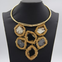 New Design Fashion Gold Plated Collar Big Gem Choker Necklace Gift Women Wedding Party Jewelry Accessories