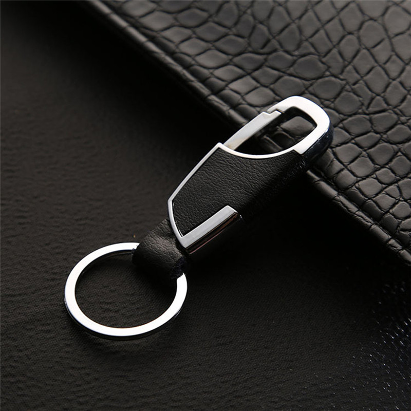 BYCOBECY Business Key Holder Metallic Key Chain Luxury Genuine Leather Key Organizer Housekepper  Men Car Key Gifts