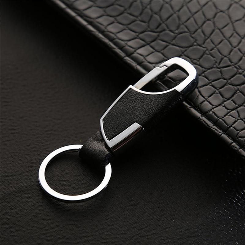 BYCOBECY Business Key Holder Metallic Key Chain Luxury Genuine Leather Key Organizer Housekepper  Men Car Key Gifts