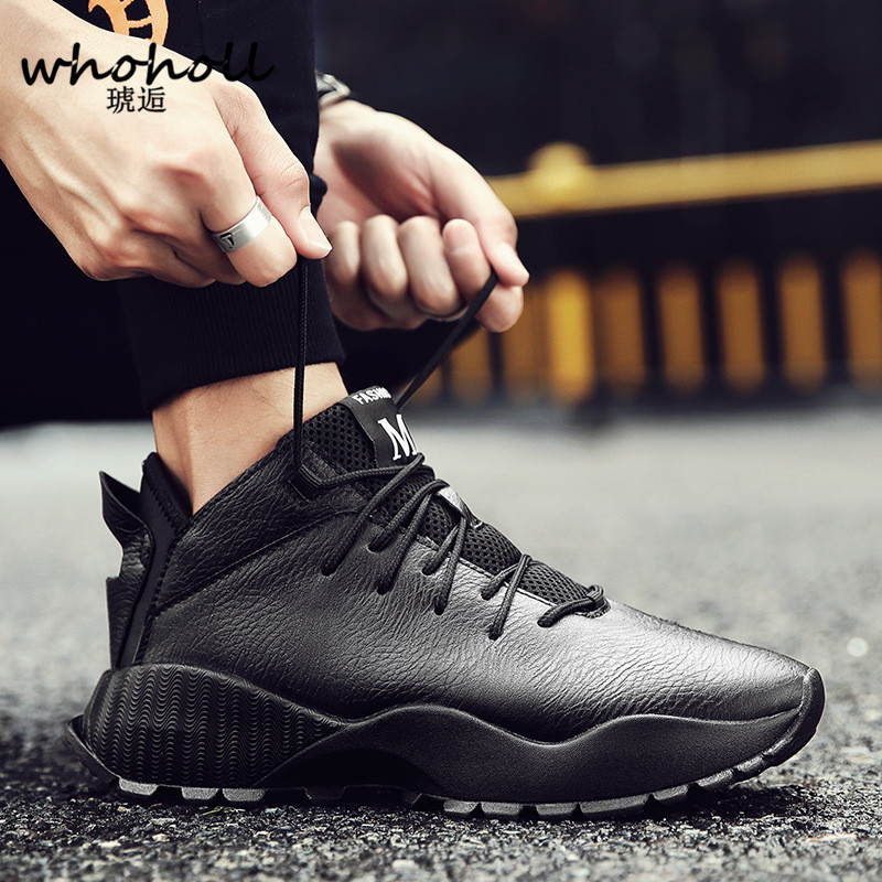 WHOHOLL brand Men shoes Lightweight sneakers Breathable Lace-up Casual Shoes For adult Fashion Footwear Zapatillas Hombre Black kelme football shoes boots for adult children 30 39 train sneakers tobillera soccer cleats zapatillas deporte light soft flats49