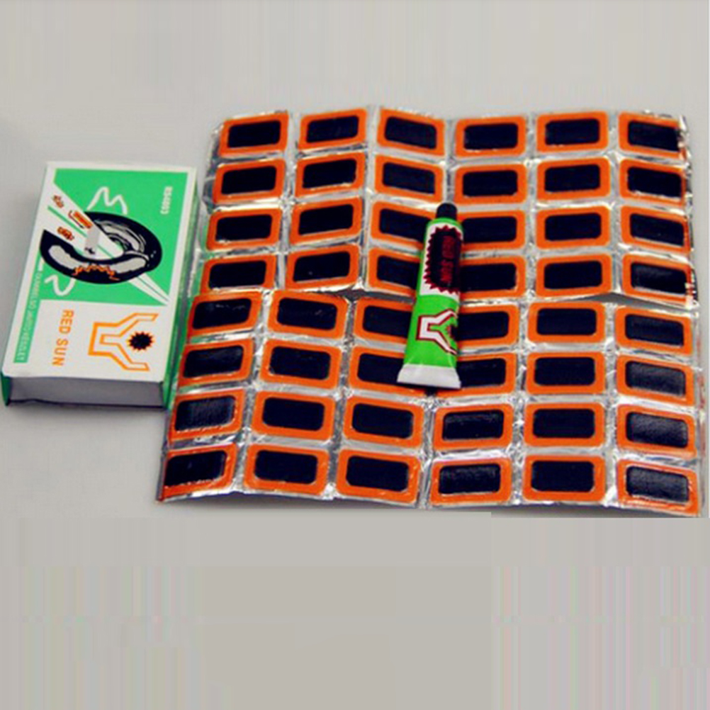 48 Pcs+1 Glue High Quality Round Bicycle Bike Tire Tyre Rubber Patch Piece Cycling Puncture Repair Tools Kits(China)
