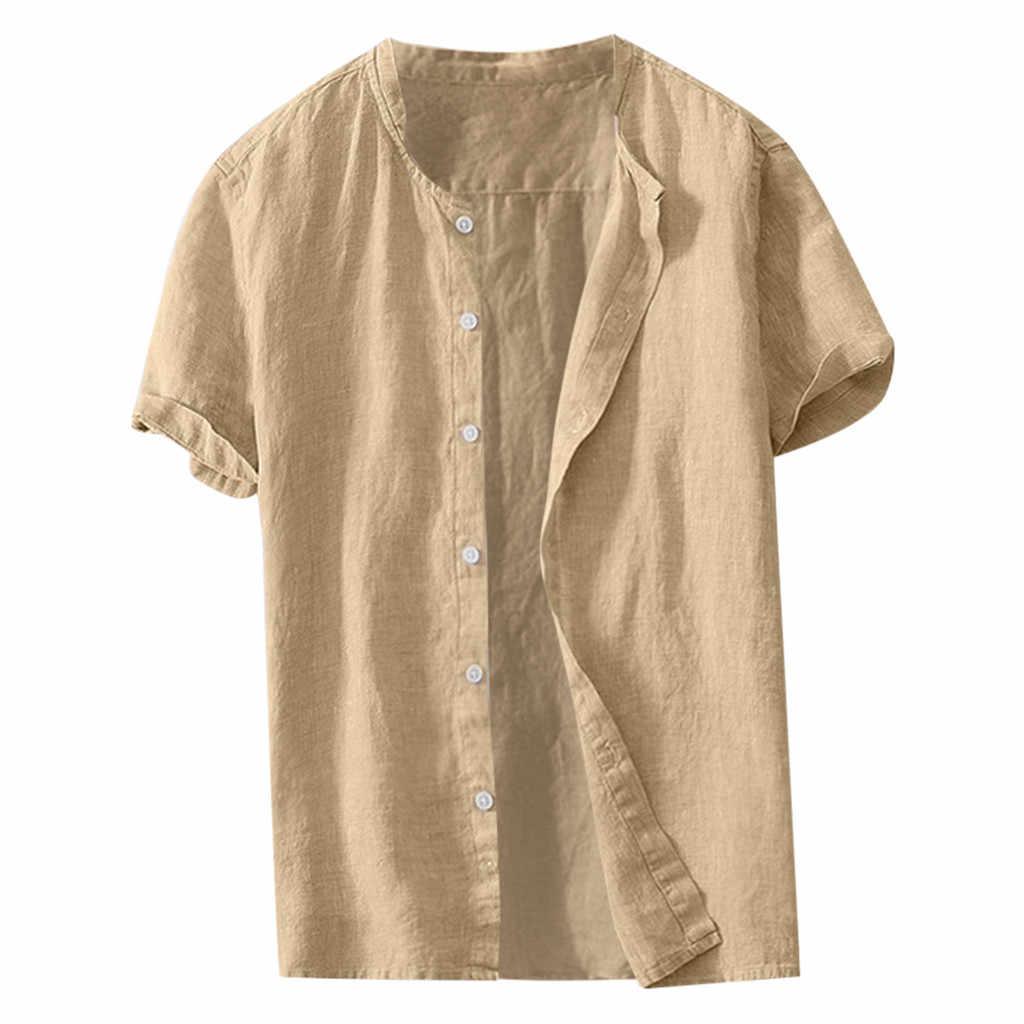 新到着高品質の綿リネンシャツヘンリー襟カジュアルシャツスリムフィット半袖レジャーフィットネスシャツ