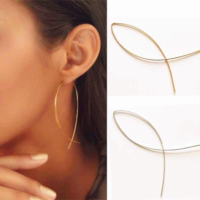 Fish Shaped Dangle Earrings Minimalist Handmade Copper Wire Earring For Women Pendientes De Gota Largas Female Geometric Earing