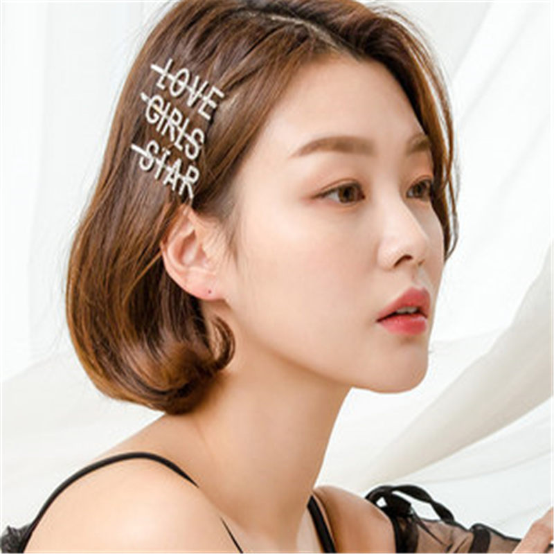 F024 1PC Shining SWEET LOVE SEXY Letter Hairpins Hair Clips for Girls Styling Tool Hairgrip Crystal Barrette Women Hair Accessor in Hair Jewelry from Jewelry Accessories