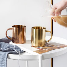 Home Decoration Stainless Steel Mug Cup Copper Plated Milk Tea Cup Golden Funny Mug 400ML Grandparents Gifts Christmas(China)
