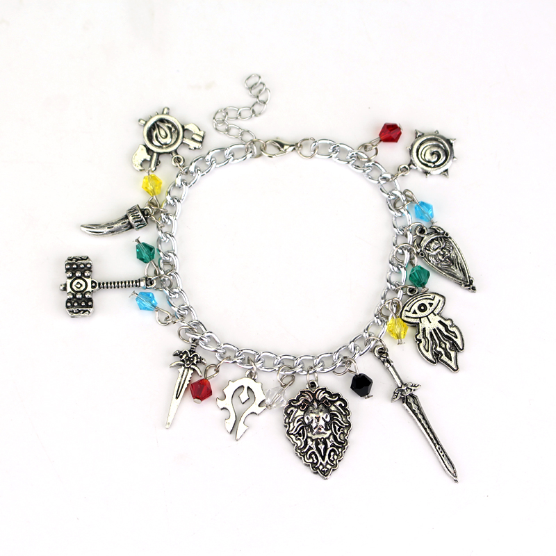 2017 Hot Game WoW Charm Bracelets & Bangles Online Game Geek Nerd WoW Cosplay Horde EMO Bracelet Handmade Charms Chain Bracelet