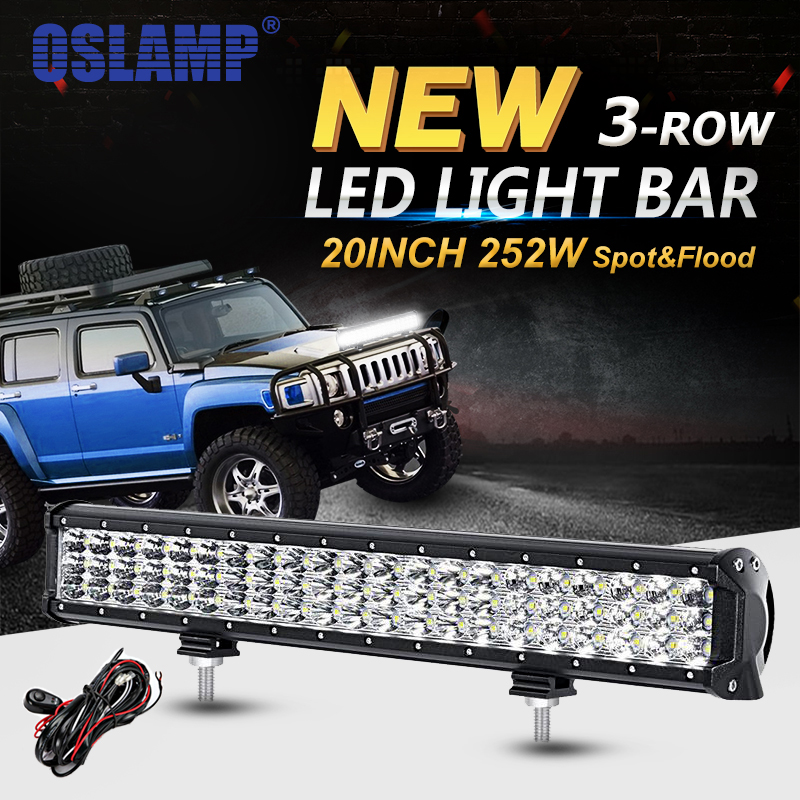 Oslamp 20inch 252W 3-Row LED Light Bar Offroad Combo Beam 4x4 Led Work Light Bar DC12v 24v Led Driving Lamp Trucks SUV ATV 4WD видеоигра бука saints row iv re elected