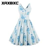 XAXBXC 2017 Summer Retro Vestido Blue Flower V Neck Wide Belt 1950s Vintage Swing Sleeveless Women Dress Evening Party Plus Size