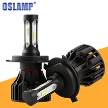 Oslamp T5 LED H4 H7 H11 H1 H3 9005 9006 Headlight Bulbs 8000lm 72w 6500K COB Chips Car Headlamp Front Bulb Auto Light DC 12V(China)