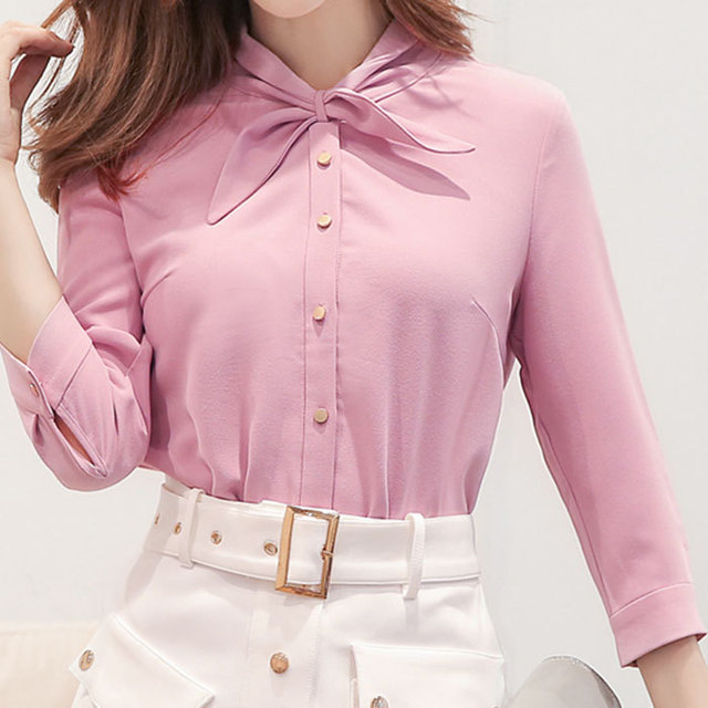 ef34f0fcc Tops para mujer rosa de manga completa diseño único camisas 2019 última ropa  de mujer RWS175047
