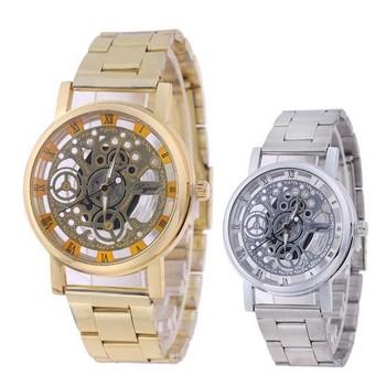 Kobiety luksusowe delikatne zegarki mechaniczne damskie przezroczyste pasek ze stopu zegarek na co dzień kobiet szkielet mechaniczne zegarki na rękę tanie i dobre opinie Mechaniczna Ręka Wiatr Bransoletka zapięcie Nie wodoodporne Moda casual Moon phase Kompletna kalendarz Strumień światła
