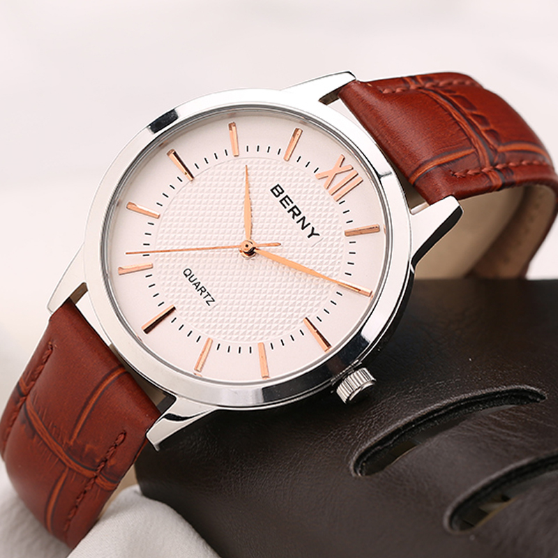 Men Watch Top Fashion Brand Brown Male Real Leather Strap Waterproof Clock Business Casual Quartz Watches Relogio Masculino2680