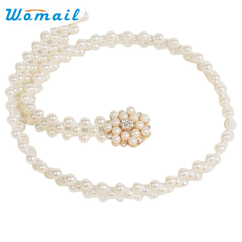 Womail Newly Design Women's Lady Fashion Rhinestone Pearl Belt Body Chain Strap 160616 Drop Shipping