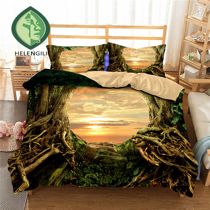 HELENGILI 3D Bedding Set Forest dreamland Print Duvet cover set lifelike bedclothes with pillowcase bed set home Textiles #2-08
