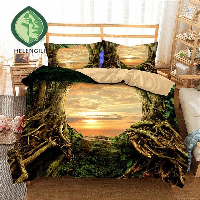 HELENGILI 3D Постельное белье Forest dreamland принт постельное белье реалистичные постельное белье с наволочкой Постельный Комплект домашний текстиль #2- 08