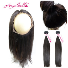 Angelbella Brazilian Virgin Hair Bundles with Lace Frontal 2 Pieces Straight Human hair Weft &A 360 Lace Frontal for Black Women
