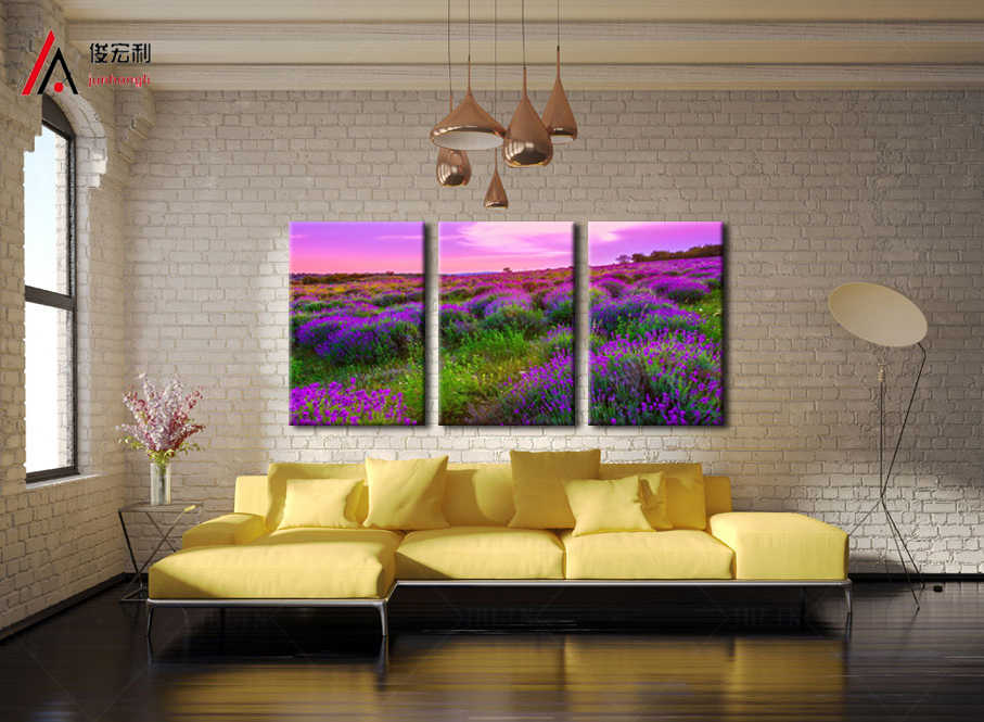 3 Panel Canvas Prints Wall Art Modular Pictures Lavender Flowers Scenery Pictures of Kitchen Giclee Prints for Living Room Decor