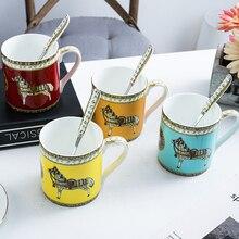 Coffee mug Bone china with cover and spoon cup Tea mugs Milk Beer