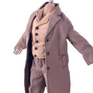 Одежда 1/6 года, коричневое пальто, куртка, рубашка, костюм для мужчин и женщин 12 дюймов