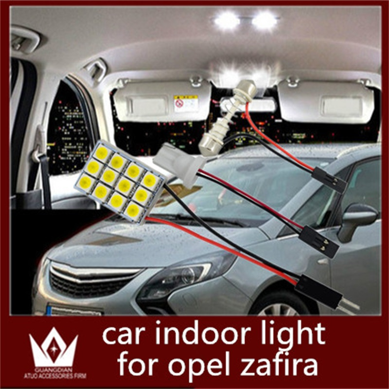 Guang Dian auto led Interior lamp Roof bulb Dome Panel Reading light door led Trunk Light T10 festoon 2 Adapters for Opel Zafira guang dian car interior lamp roof bulb