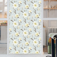 45x200cm White Flowers Frosted Opaque Glass Window Film Toilet Kitchen Static Self Adhesive Glass Stickers Privacy