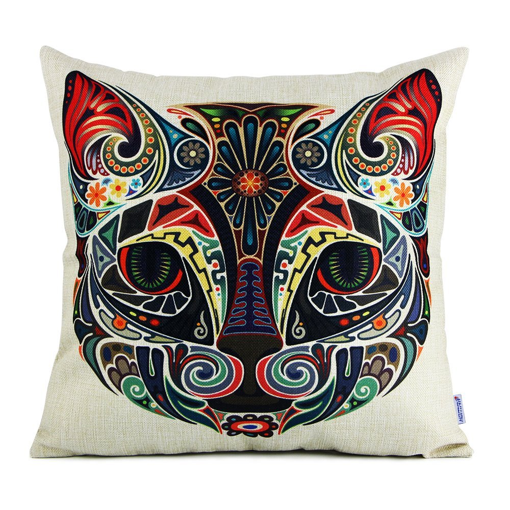 HOT SALE 45*45cm Euro Square flax Print Pattern Throw Pillowcase Pillow Covers Cats