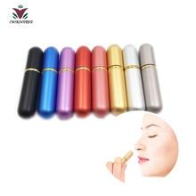 Inhalador Nasal vacío de aluminio y vidrio, 8 juegos de aceites esenciales para aromaterapia, contenedor de aluminio y vidrio, 8 colores, 16 Uds., mechas de alta calidad