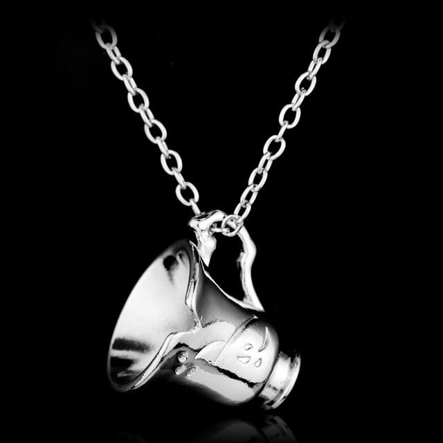 Once Upon A Time Belle Chipped Cup Silver Jewelry Pendant Charm Maxi Long Necklace Beauty and the Beast Rumpelstiltskin