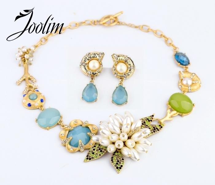 JOOLIM Jewelry Wholesale New Gorgeous Flower Snail Choker Necklace Earring Set Jewelry Set