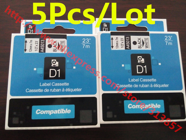 5Pcs label maker DYMO Ink cartridges label tape 45013 Black On white ...