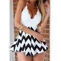 2015 Mulheres de Verão V-Neck Lace Patchwork bandage mulheres Macacão Curto sexy bodycon macacões bodysuit Feminino